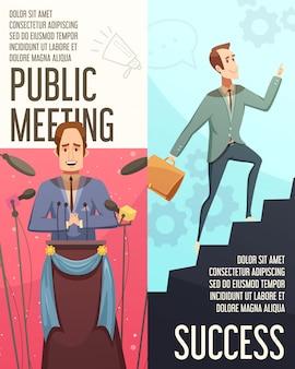 Banners verticais de businessmeeting conjunto com símbolos de reunião pública cartoon ilustração vetorial isolado