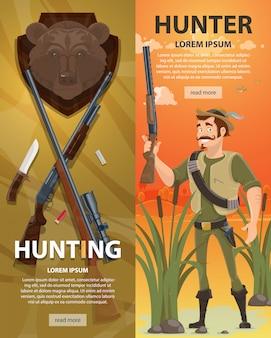 Banners verticais de caça coloridos