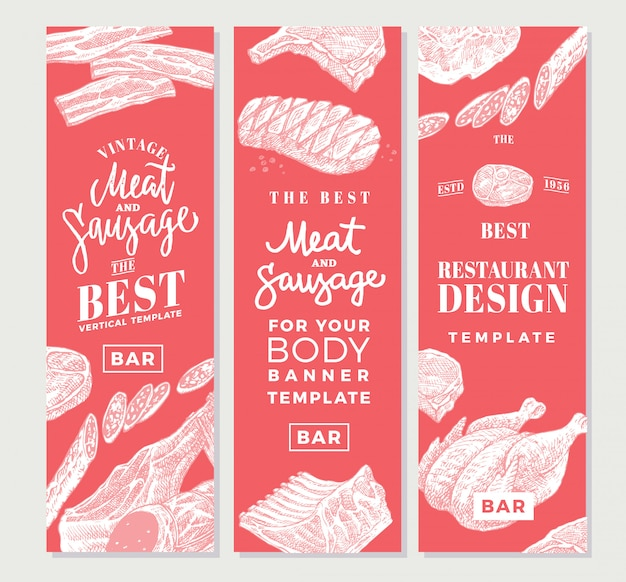 Banners verticais de carne desenhada à mão