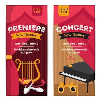 Banners verticais de cartaz de teatro com símbolos de concerto