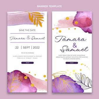 Banners verticais de casamento desenhados à mão em aquarela