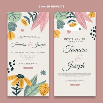 Banners verticais de casamento desenhados à mão