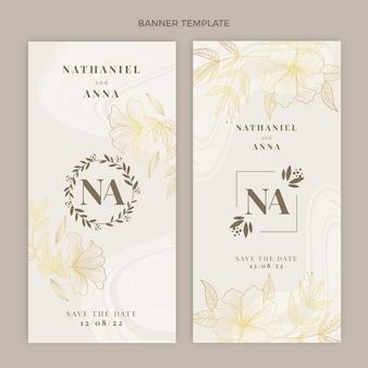 Banners verticais de casamento dourado de luxo realistas