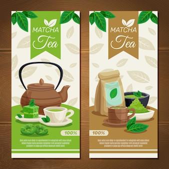 Banners verticais de chá verde matcha