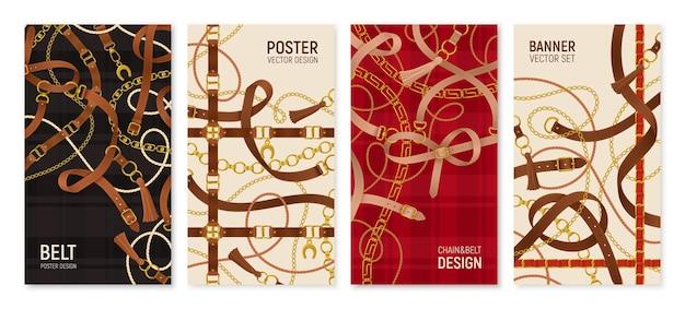 Banners verticais de cinto com ilustração realista de corrente