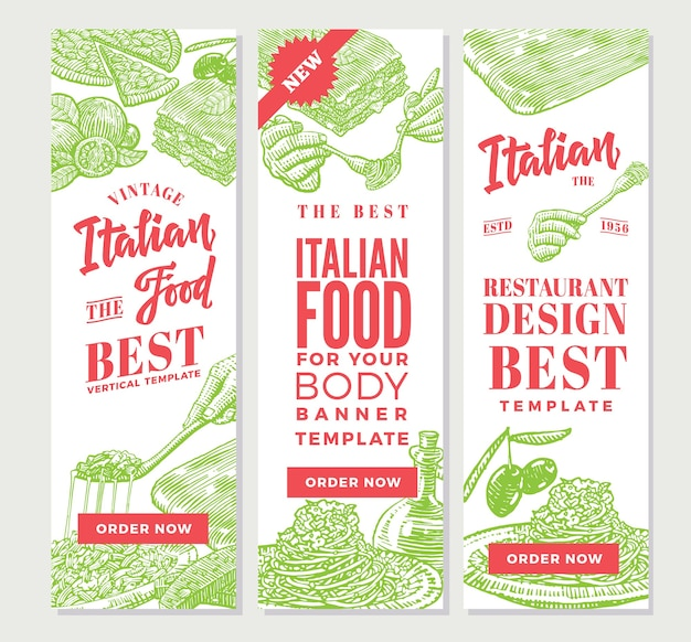 Banners verticais de comida italiana vintage