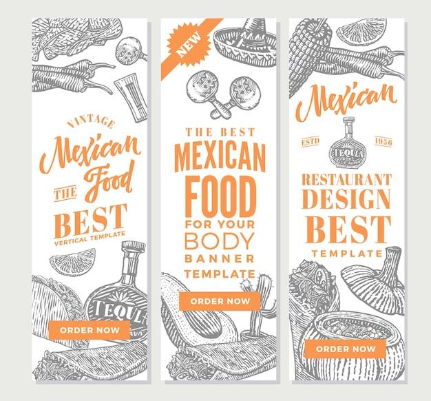 Banners verticais de comida mexicana vintage