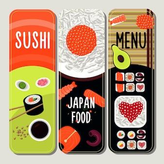 Banners verticais de comida tradicional japonesa