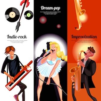 Banners verticais de conceito de música
