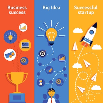 Banners verticais de conceito de negócio