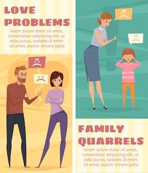 Banners verticais de conflito com a argumentar amor casal e mãe