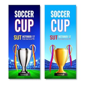 Banners verticais de copa de futebol