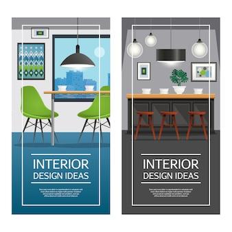 Banners verticais de cozinha design de interiores