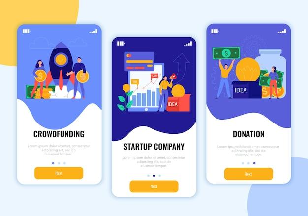 Banners verticais de crowdfunding com ilustração de inicialização e doação