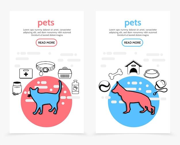 Banners verticais de cuidados com animais de estimação