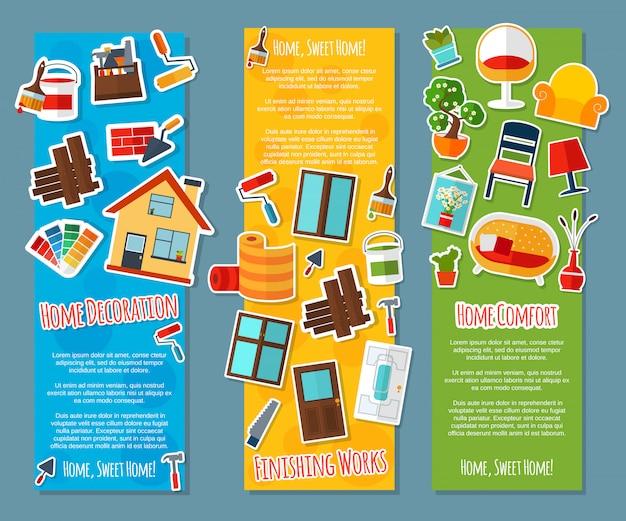 Banners verticais de design de interiores