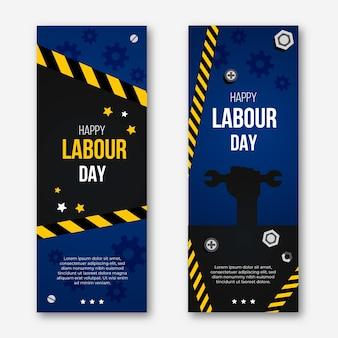 Banners verticais de design plano dia do trabalho