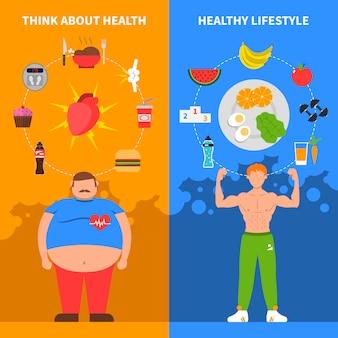 Banners verticais de dieta