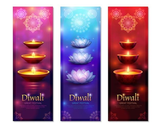 Banners verticais de diwali