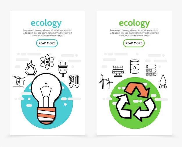 Banners verticais de ecologia e energia