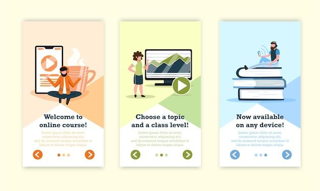 Banners verticais de educação online com ilustração de botões de mudança de página clicáveis