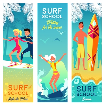 Banners verticais de escola de surf
