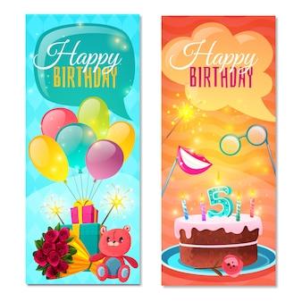 Banners verticais de feliz aniversário
