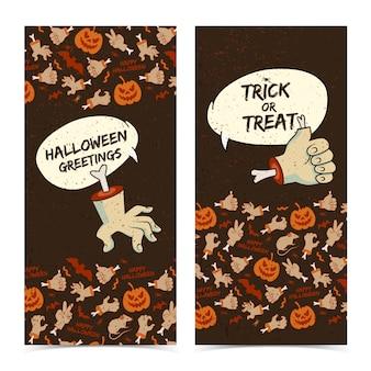 Banners verticais de feliz halloween com nuvens de fala cortam gestos de braços de zumbis