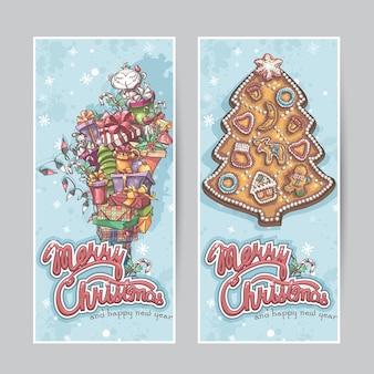 Banners verticais de feliz natal