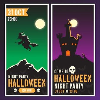 Banners verticais de festa à noite de halloween