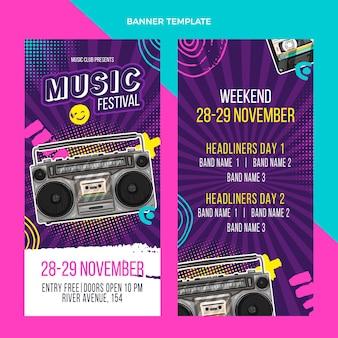 Banners verticais de festivais de música coloridos desenhados à mão