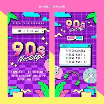 Banners verticais de festivais de música dos anos 90 desenhados à mão