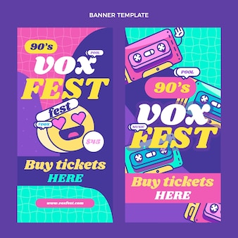 Banners verticais de festivais de música nostálgicos dos anos 90