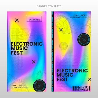 Banners verticais de festival de música com textura gradiente