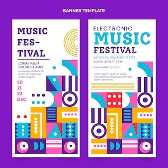 Banners verticais de festival de música em mosaico de design plano