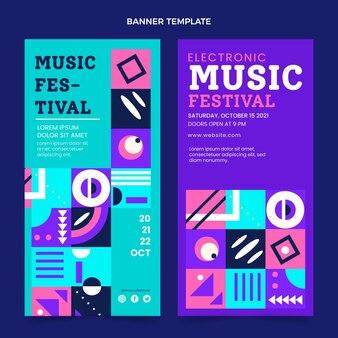 Banners verticais de festival de música em mosaico plano
