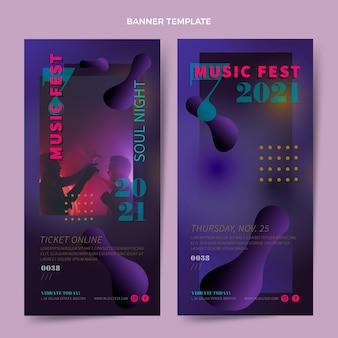 Banners verticais de festival de música gradiente
