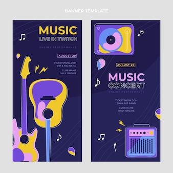 Banners verticais de festival de música minimalista de design plano