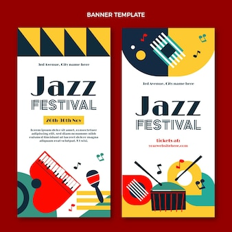 Banners verticais de festival de música minimalista em estilo simples