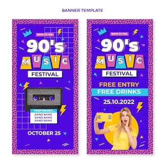 Banners verticais de festival de música nostálgica dos anos 90