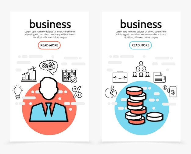 Banners verticais de finanças empresariais