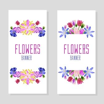 Banners verticais de flores