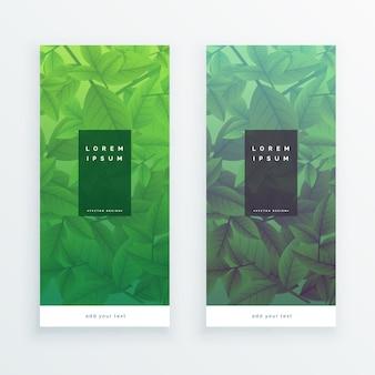 Banners verticais de folhas verdes