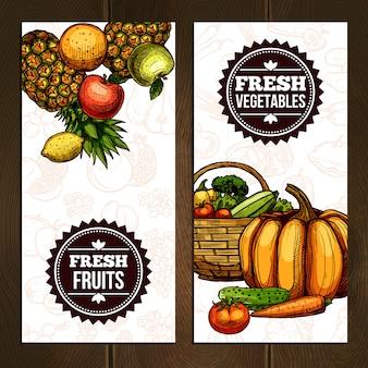 Banners verticais de frutas e legumes