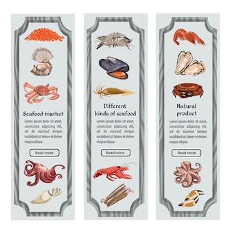 Banners verticais de frutos do mar com esboço colorido