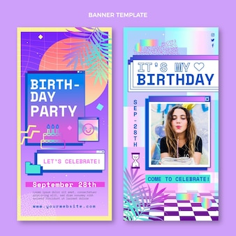 Banners verticais de gradiente vaporwave de aniversário