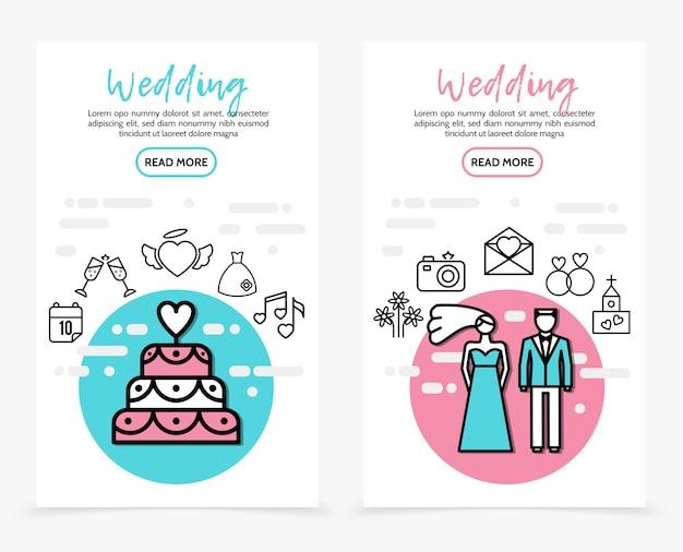 Banners verticais de ícones de linha de casamento