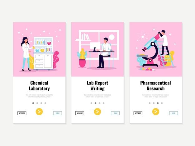 Banners verticais de laboratório com ilustração de botões de opção clicáveis