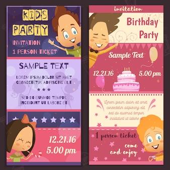 Banners verticais de layout de convite de festa de crianças
