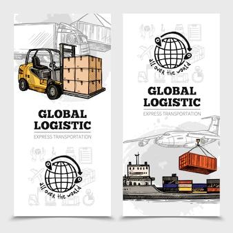 Banners verticais de logística global